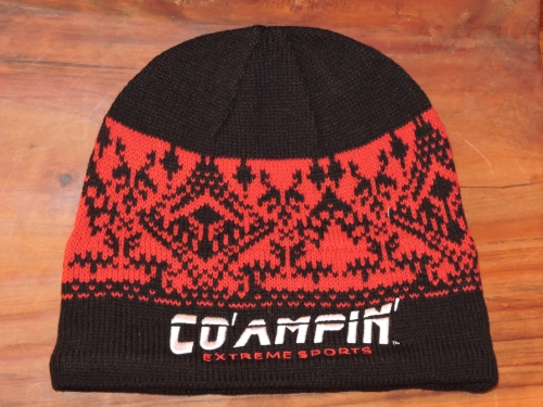beanie blk red nordic